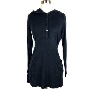 SUSAN GRAVER Plush Knit Long-Sleeve Henley black